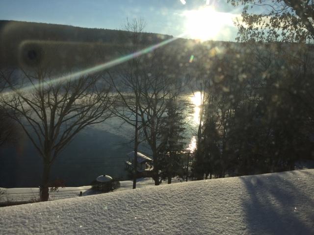 Snowy sunrise over the lake!